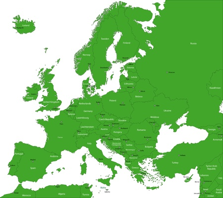 carte europe: Green Europe carte avec les pays