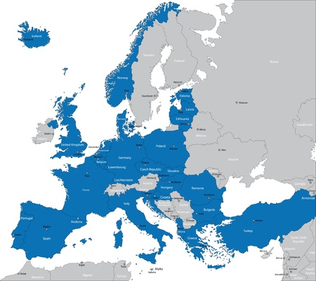 Members of NATO in Europe Vector