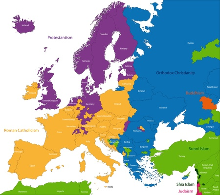 disposition: Predominant religious heritages in Europe