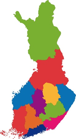 lapland: Vector color map of administrative divisions of Finland Illustration