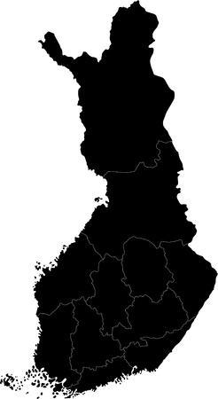 administrative divisions: Black map of administrative divisions of Finland