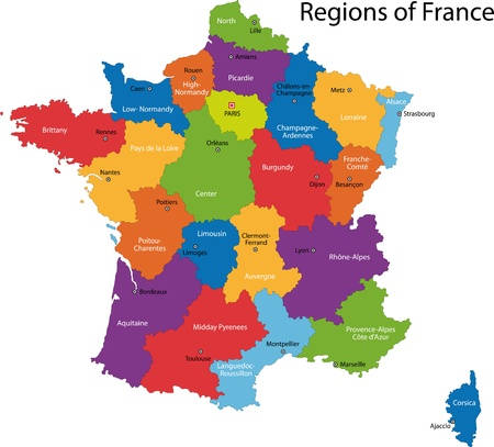 Colorful France map with regions and main cities Vectores