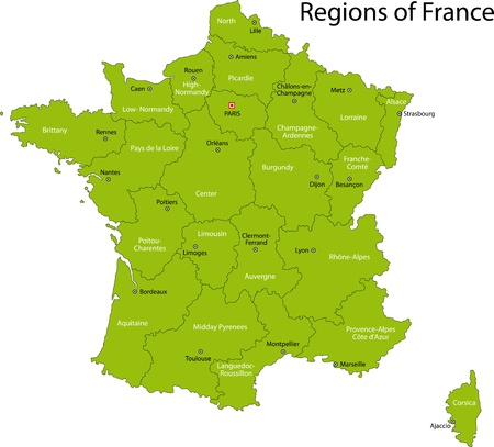 Green France map with regions and main cities Vector