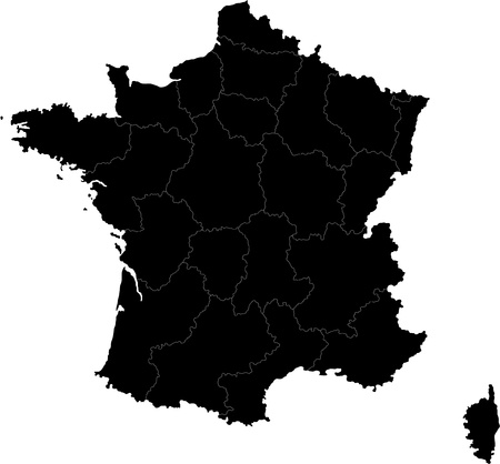 Black France map with region borders Vectores