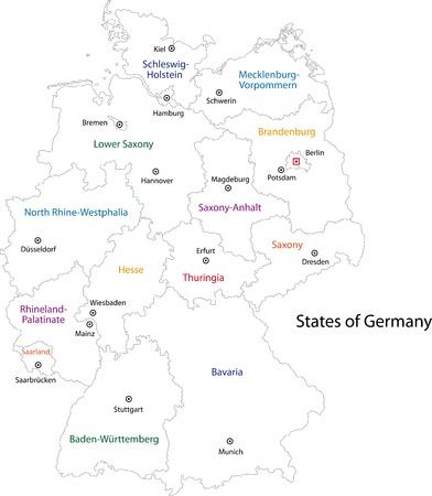 Décrivez Allemagne carte avec les régions