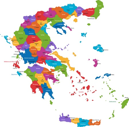 Map of administrative divisions of Greece with the capital cities Vector