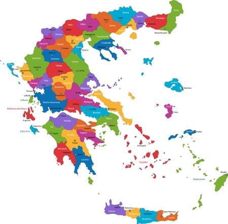 europa: Mapa de las divisiones administrativas de Grecia, con los capitales