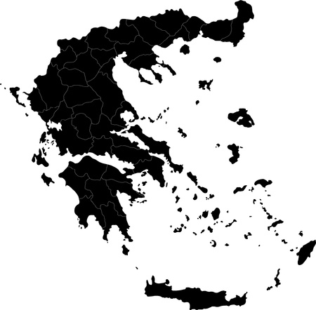 greece: Map of administrative divisions of Greece Illustration