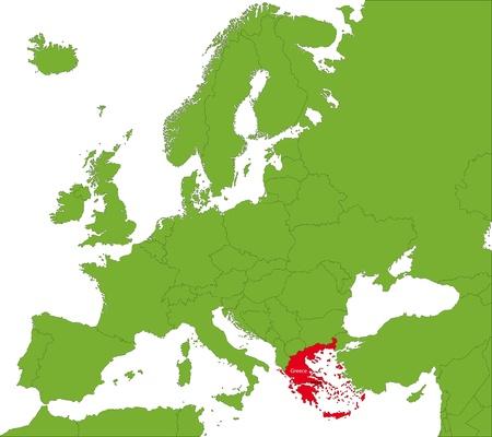 sparta: Lage von Griechenland auf dem Kontinent Europa