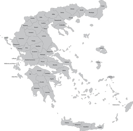 Map of administrative divisions of Greece Vector