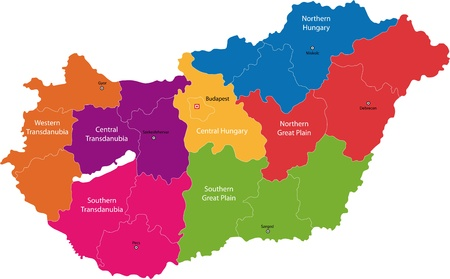 Map of administrative divisions of Republic of Hungary Vector