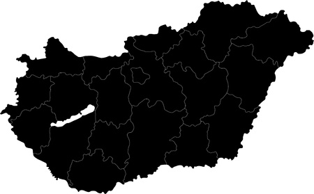 hungarian: Map of administrative divisions of Republic of Hungary
