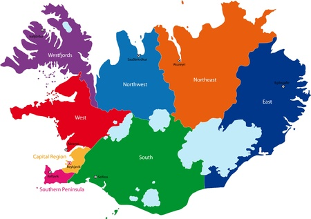 Map of administrative divisions of Republic of Iceland Vector