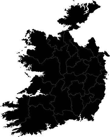 Republic of Ireland map with region borders Vector
