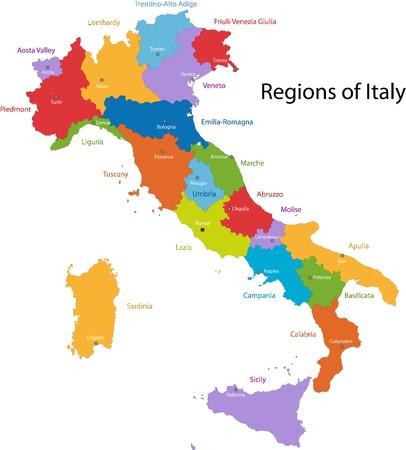 Colorido mapa de Italia con las regiones y principales ciudades Foto de archivo - 21813642