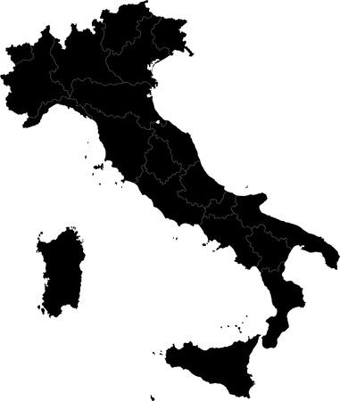 Nero Italia mappa con i confini regionali Archivio Fotografico - 21813643
