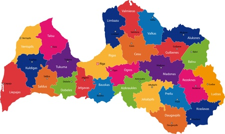 Map Of Administrative Divisions Of Republic Of Latvia Royalty Free