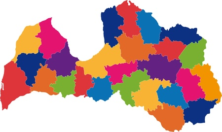 Map of administrative divisions of Republic of Latvia Vector