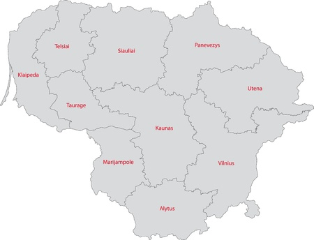 lithuanian: Map of administrative divisions of Republic of Lithuania Illustration