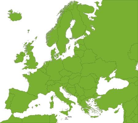 valletta: Location of Malta on the Europa continent Illustration