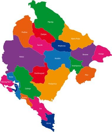 モンテネグロの行政区分の地図