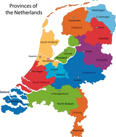 Colorful Netherlands map with regions and main cities Vectores