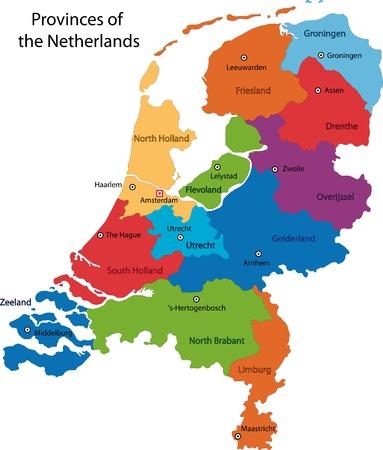 europa: Colorful Países Bajos mapa con las regiones y ciudades principales