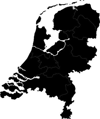 Zwarte kaart van Nederland met de regio grenzen