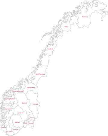 Map Of Administrative Divisions Of Norway Royalty Free Cliparts