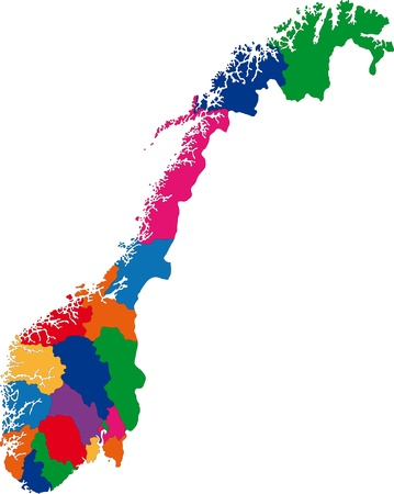 Map of administrative divisions of Norway Vector