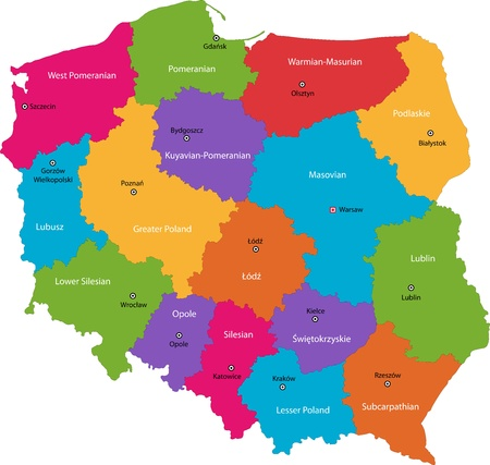 Vector color map of administrative divisions of Poland with capital cities Vectores
