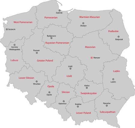 Map of administrative divisions of Poland with capital cities