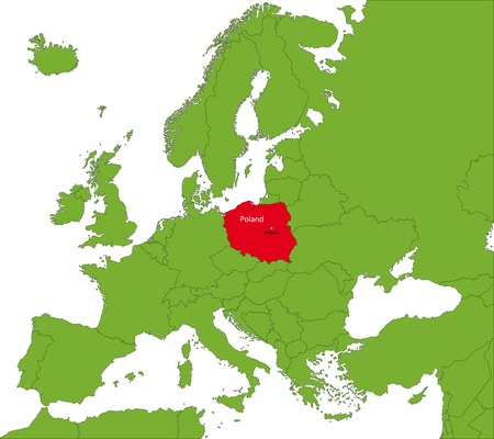 Location of Poland on the Europa continent
