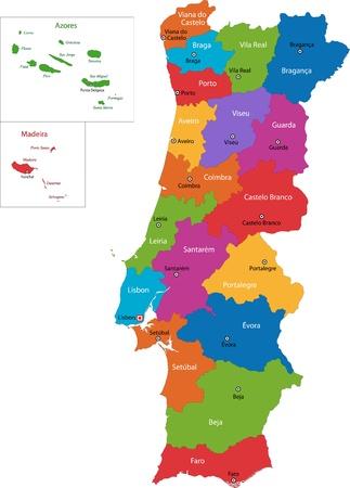 地域および主要な都市とカラフルなポルトガルの地図