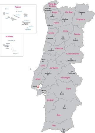 Gray Portugal map with regions and main cities Vector