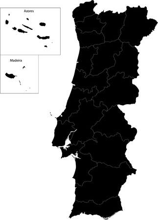 azores: Black Portugal map with region borders