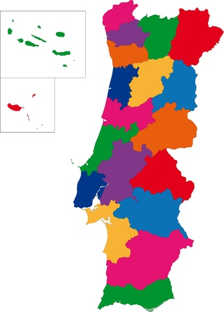 Map of administrative divisions of Portugal Vector