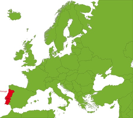 iberian: Location of Portugal on the Europa continent