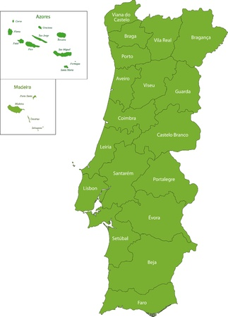 azores: Green Portugal map with regions