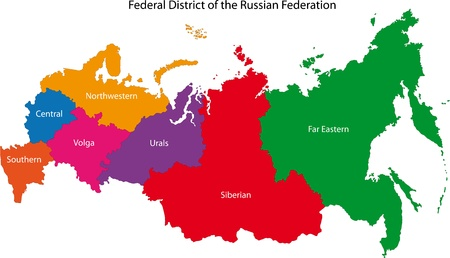 federation: Color regions of the Russian Federation