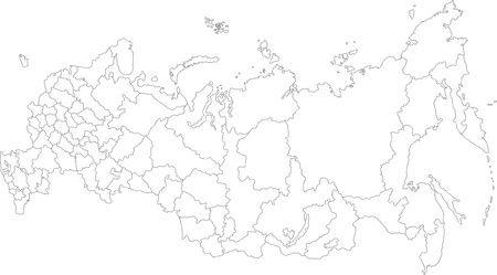 russian federation: Vector map of the Russian Federation with federal subjects