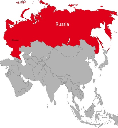 russia map: Location of the Russian Federation on the Asian continent