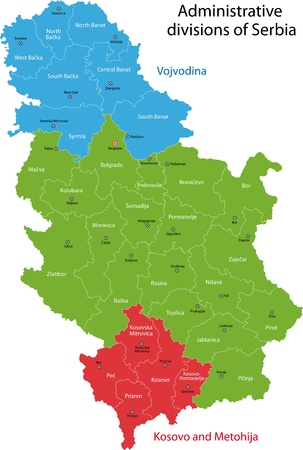serbia: Map of administrative divisions of Republic of Serbia