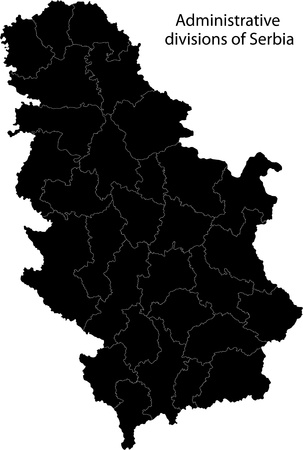Map of administrative divisions of Republic of Serbia Vector
