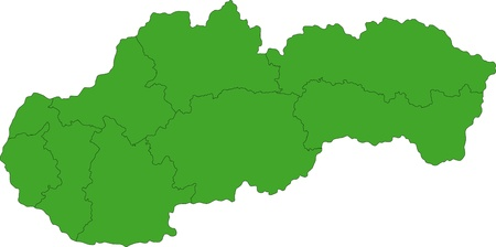 slovak republic: Map of administrative divisions of Slovakia
