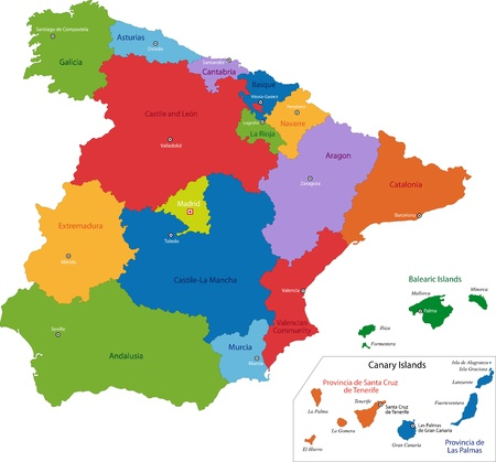 Colorful Spain map with regions and main cities Ilustração