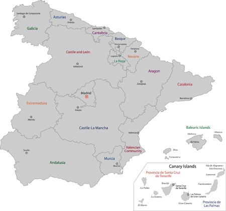 spain map: Grigio Spagna mappa con le regioni e le principali citt�