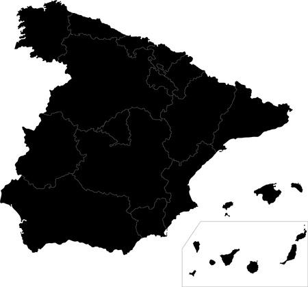 spain map: Nero Spagna mappa con i confini regionali