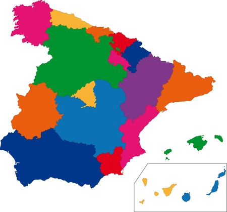 Map of administrative divisions of Spain Vector