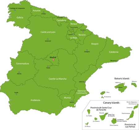 spain map: Spagna Verde mappa con le regioni